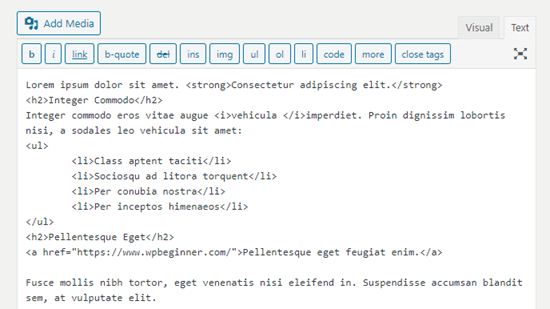 The corrected formatting code in the classic editor