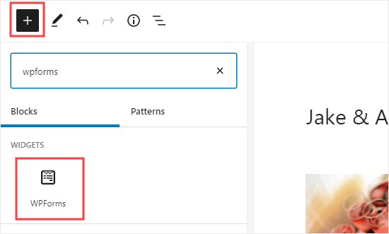 Adding a WPForms block to your page