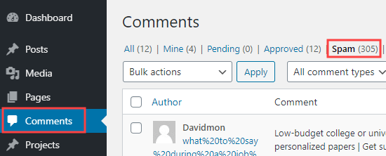 Click on the Spam tab to see a list of comments that have been marked as spam