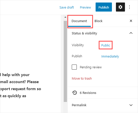 Editing the page's visibility settings
