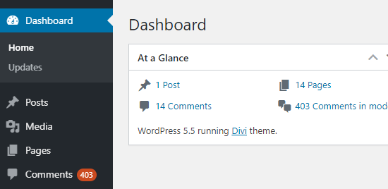 The number of pending comments showing in the WordPress admin sidebar and on the dashboard