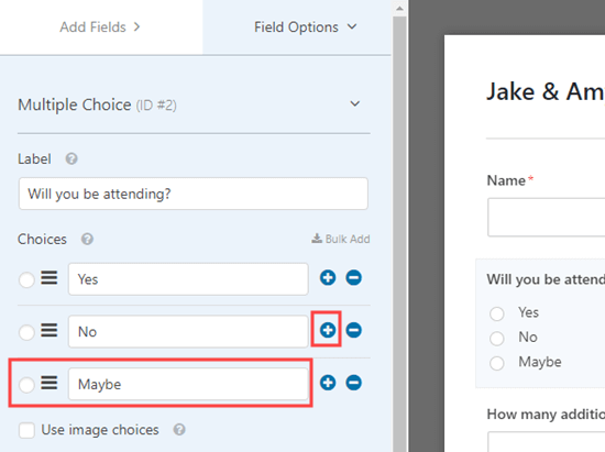 Adding more options to the multiple choice field