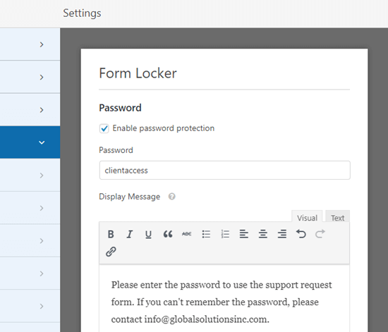 Entering a password and a message for your password protected form