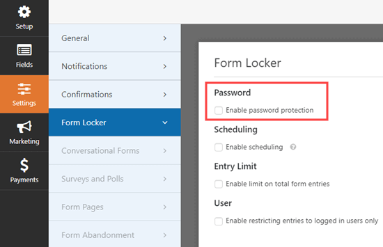 Going to the Form Locker settings page in WPForms and checking the password box