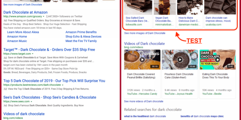Bing spotted showing domain sources in image carousels