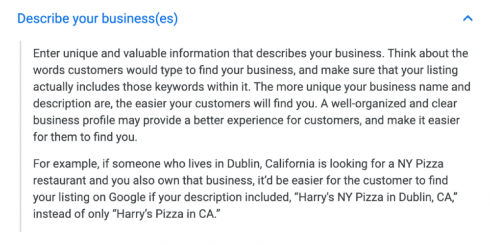 Google: Use (relevant) keywords in your Google My Business description