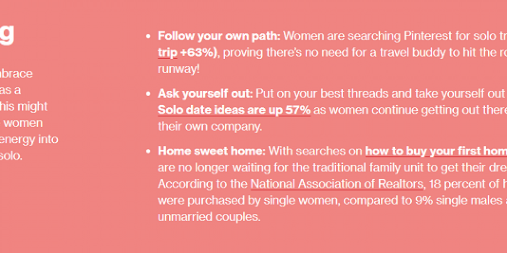 Pinterest Publishes Data on Trending Searches by Women