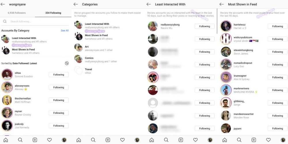 Instagram Adds New Listings of 'Least Interacted With' and 'Most Shown in Feed' in Following Tab