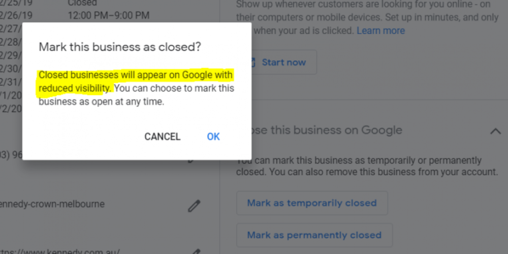 Google: Marking a Business 'Temporarily Closed' Doesn't Impact Rankings via @MattGSouthern