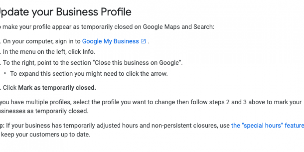 Google turns on 'mark a business temporarily closed' for business owners on GMB