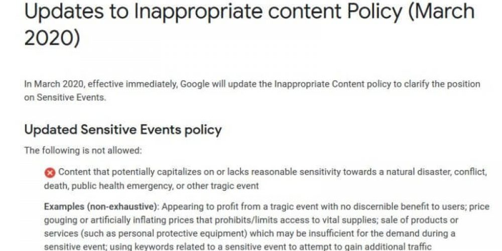 Google updates its ads policy for inappropriate content to include 'public health emergency'
