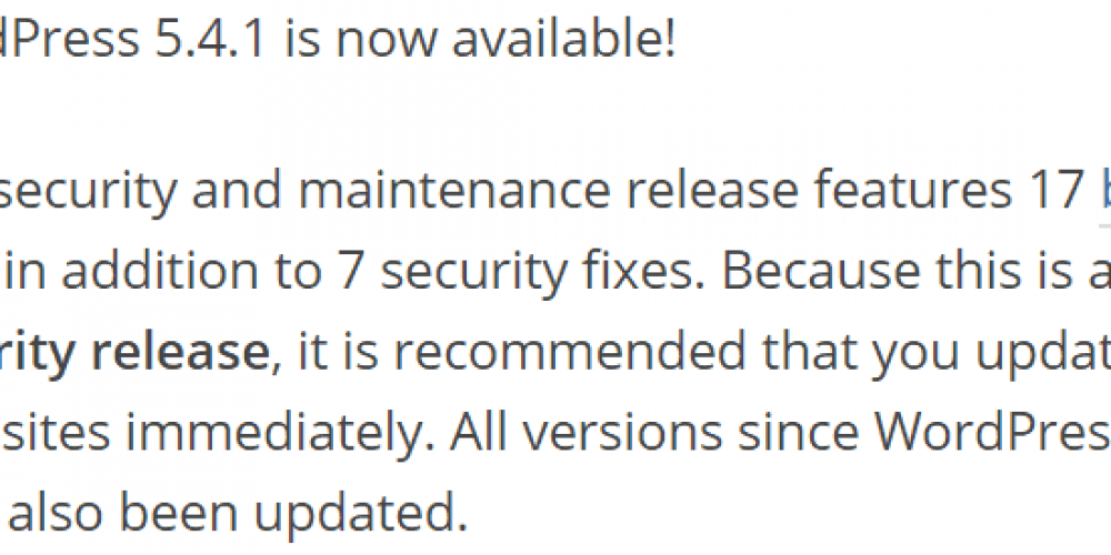 WordPress Vulnerability Update via @martinibuster