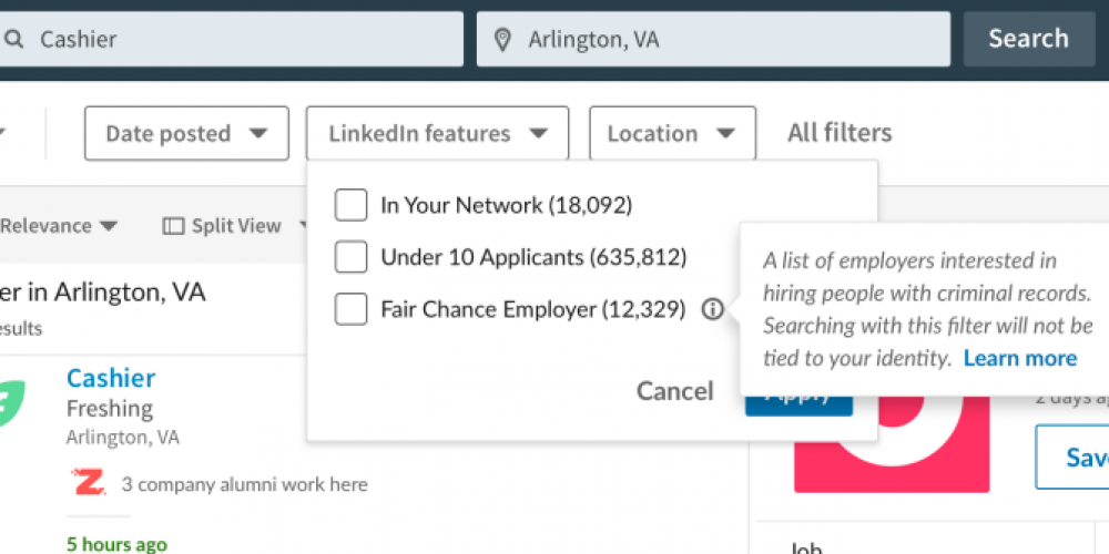 Linkedin Launches 'Fair Chance' Job Filter to Help Applicants Who Have a Criminal Record