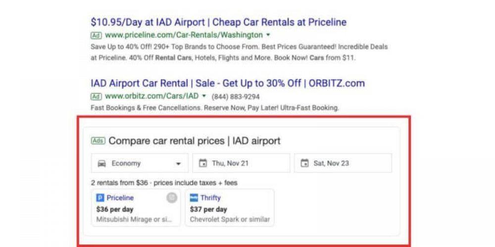 Google testing car rental comparison ad unit in search results