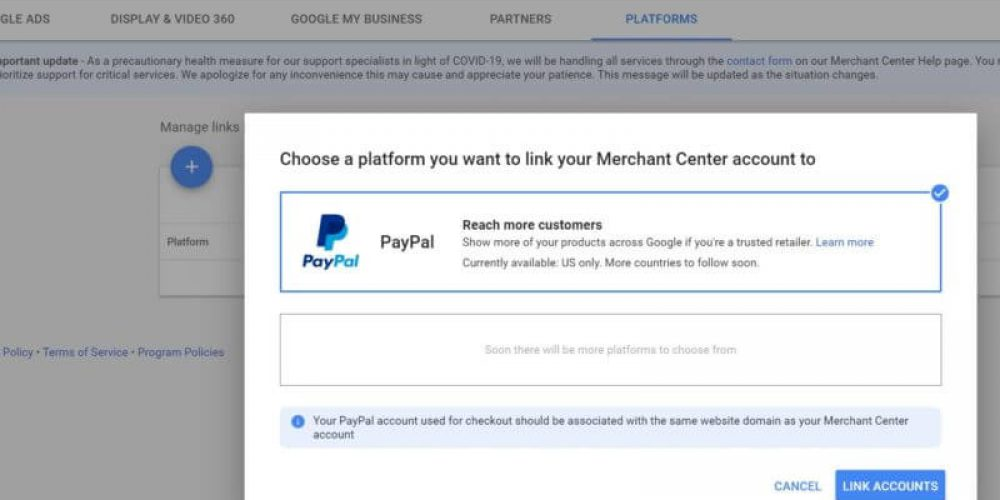 Retailers can now link their PayPal and Google Merchant Center accounts