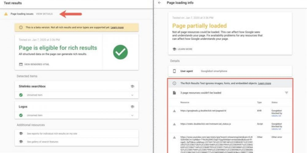 Google Rich Results testing tool now reports on unloadable embedded resources