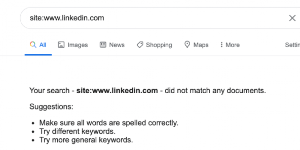Oops, LinkedIn temporarily drops out of Google Search