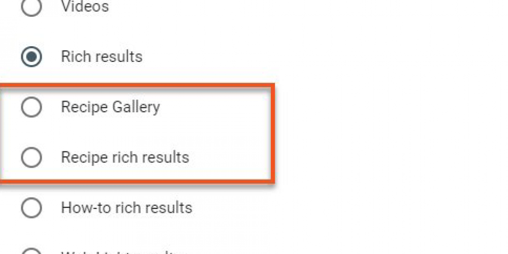 Google Search Console performance report gets recipe filters