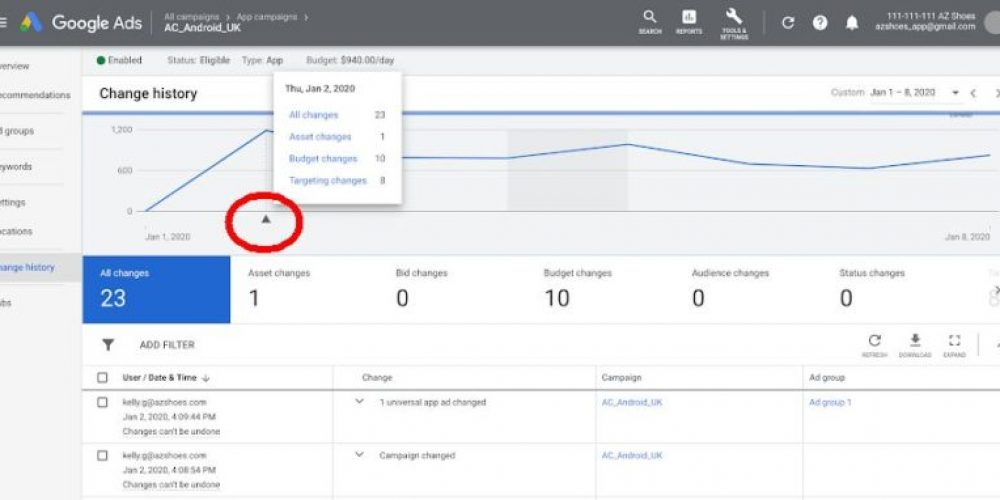 New chart annotations make  Google Ads' change history reports much easier to navigate