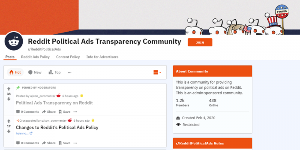 Reddit Updates Political Ad Policy. Launches Transparency Subreddit Listing Political Advertisers
