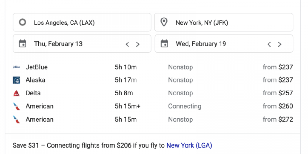 Google removes 'ads' and 'sponsored' labels from flight search results
