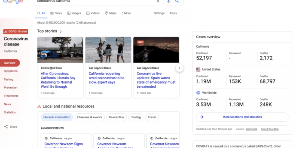 Google surfacing more local COVID news content to satisfy massive search demand