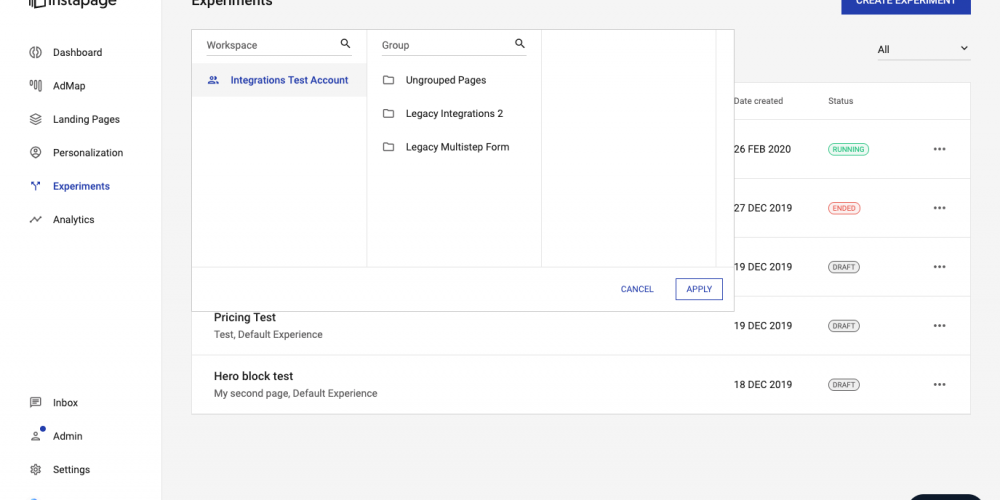 New Instapage Features for March: Landing Page Search + Experimentation Filtering