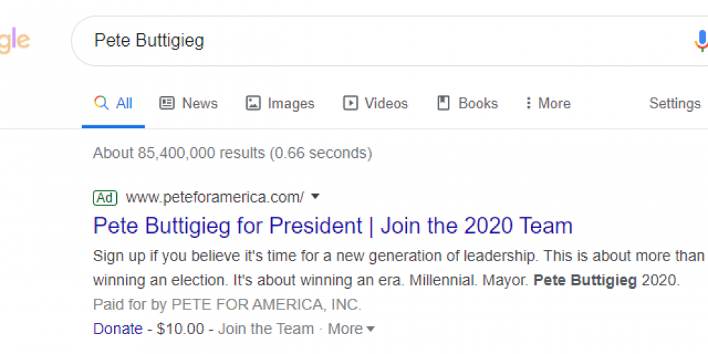 A Detailed Look at How Presidential Candidate Pete Buttigieg Segments Paid Ads with Post-Click Experiences (4 Examples)