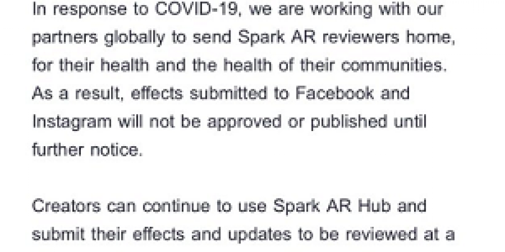 Facebook Says That Approvals for AR Effects Submitted to Facebook and Instagram Will Be Put on Hold