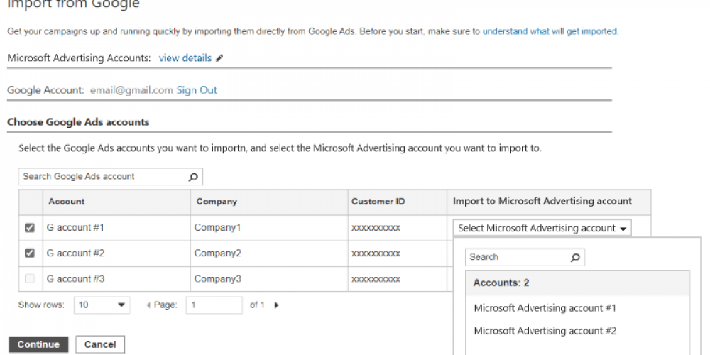Microsoft Advertising adds support for multi-account Google imports