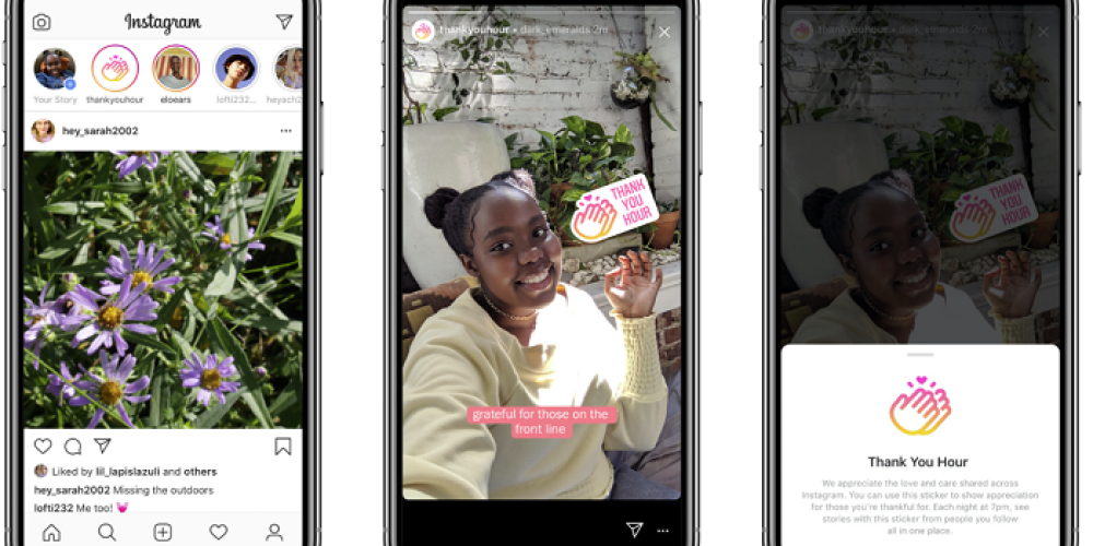 Instagram Launches 'Thank You Hour' Sticker and Story to Share Appreciation During COVID-19