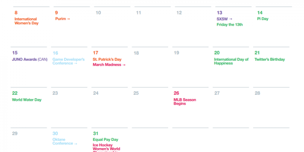 Twitter Outlines Major Events for March to Assist With Strategic Planning