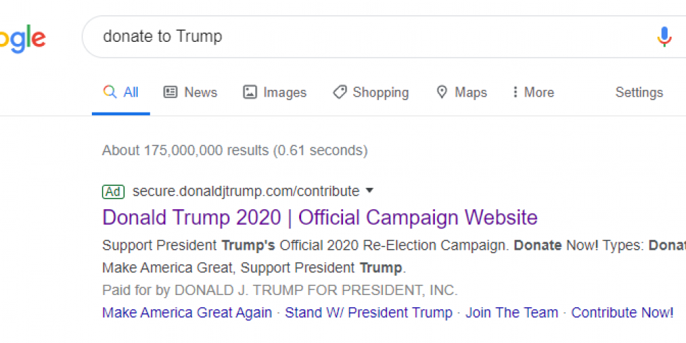 See How President Donald Trump Segments His Ads with Post-Click Experiences in an Attempt to Get Re-Elected (3 Examples)