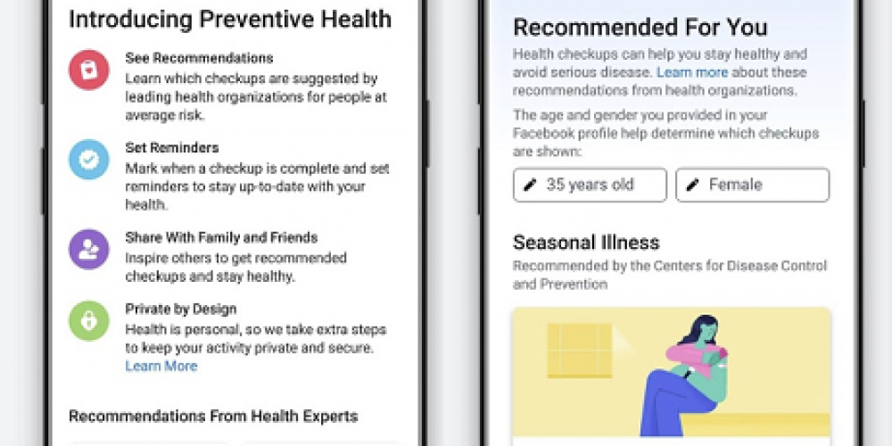 Facebook Launches 'Preventive Health' Tool to Raise Awareness of Personal Health Concerns
