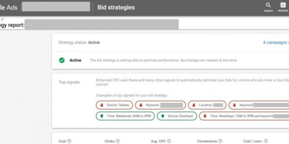 See the 'top signals' informing your Google Ads bidding strategies