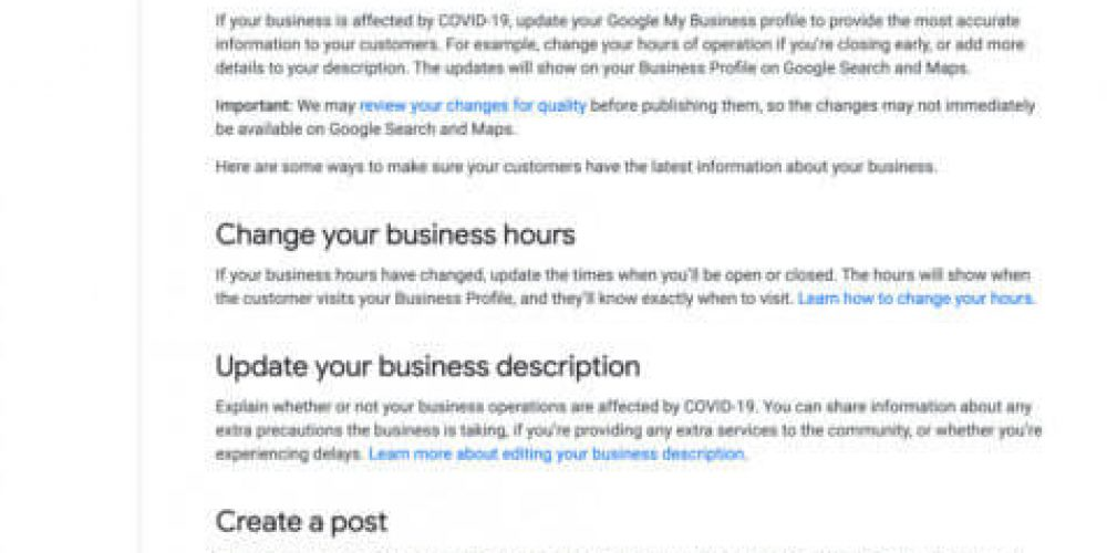 Google My Business tells businesses affected by the coronavirus to update listings