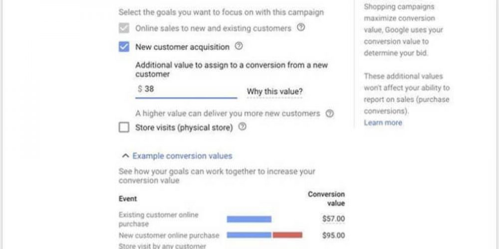 Smart Shopping campaigns get shipping annotations, 'new customer' bidding control
